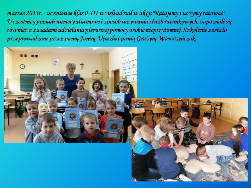 marzec 2013r. - uczniowie klas 0-III wzięli udział w akcji