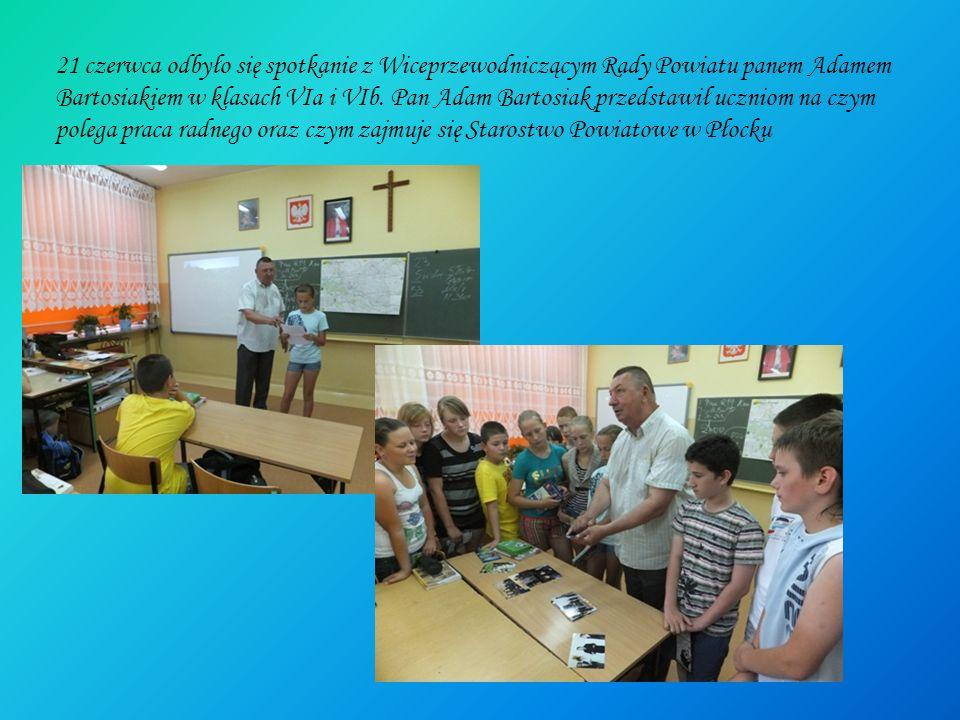 21 czerwca odbyło się spotkanie z Wiceprzewodniczącym Rady Powiatu panem Adamem Bartosiakiem w klasach VIa i VIb. Pan Adam Bartosiak przedstawił uczni