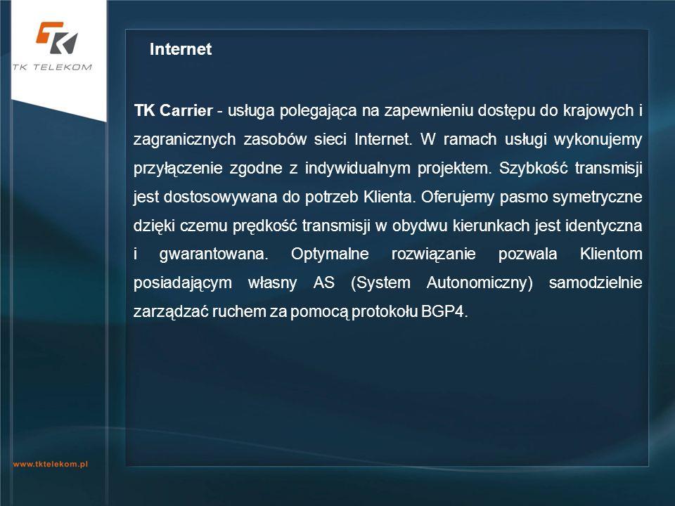 TK Carrier - usługa polegająca na zapewnieniu dostępu do krajowych i zagranicznych zasobów sieci Internet. W ramach usługi wykonujemy przyłączenie zgo