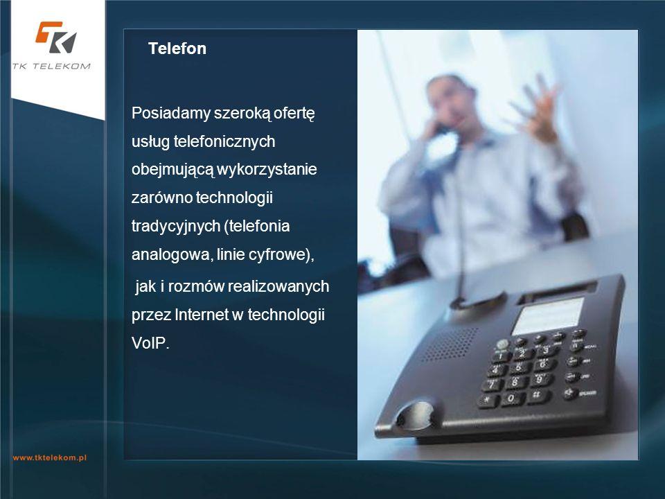 Posiadamy szeroką ofertę usług telefonicznych obejmującą wykorzystanie zarówno technologii tradycyjnych (telefonia analogowa, linie cyfrowe), jak i ro