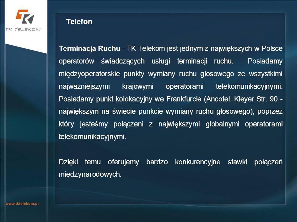 Terminacja Ruchu - TK Telekom jest jednym z największych w Polsce operatorów świadczących usługi terminacji ruchu. Posiadamy międzyoperatorskie punkty