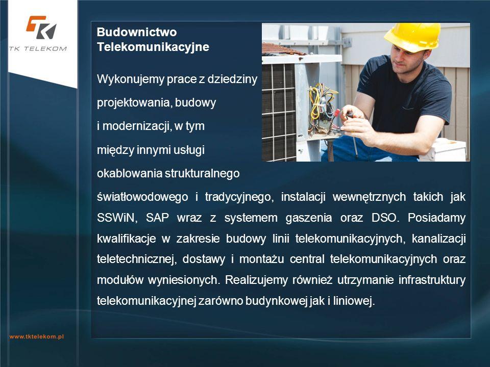 Wykonujemy prace z dziedziny projektowania, budowy i modernizacji, w tym między innymi usługi okablowania strukturalnego światłowodowego i tradycyjneg