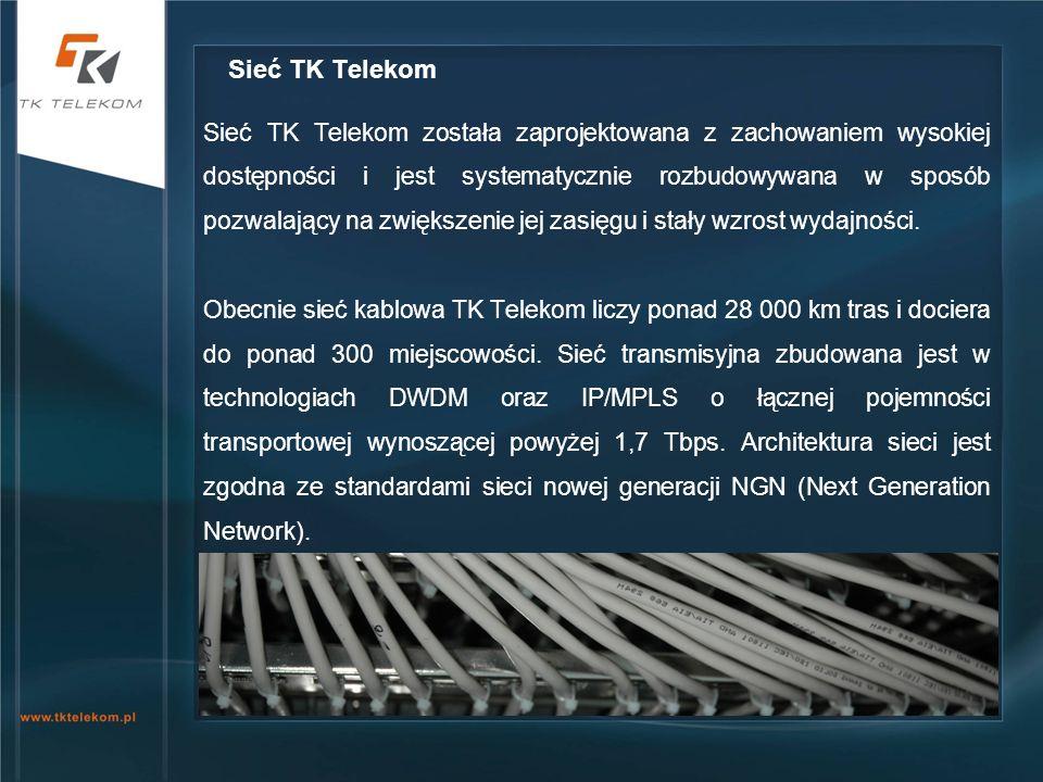 Sieć TK Telekom została zaprojektowana z zachowaniem wysokiej dostępności i jest systematycznie rozbudowywana w sposób pozwalający na zwiększenie jej
