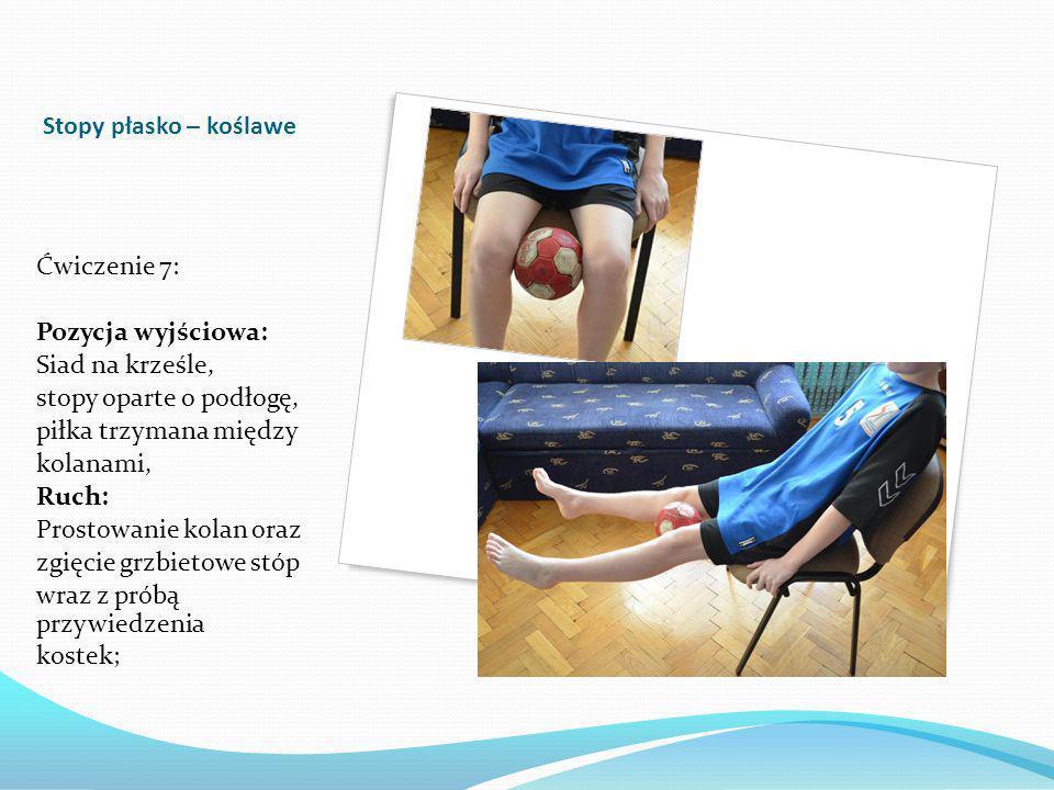 Stopy płasko – koślawe Ćwiczenie 7: Pozycja wyjściowa: Siad na krześle, stopy oparte o podłogę, piłka trzymana między kolanami, Ruch: Prostowanie kolan oraz zgięcie grzbietowe stóp wraz z próbą przywiedzenia kostek;