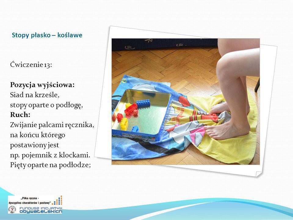 Stopy płasko – koślawe Ćwiczenie 13: Pozycja wyjściowa: Siad na krześle, stopy oparte o podłogę, Ruch: Zwijanie palcami ręcznika, na końcu którego pos