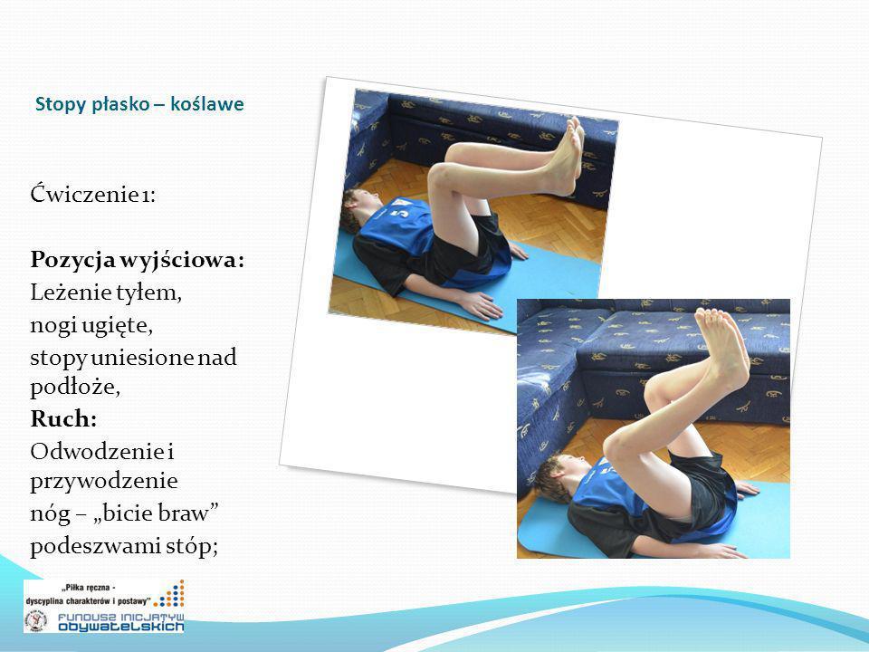Stopy płasko – koślawe Ćwiczenie 1: Pozycja wyjściowa: Leżenie tyłem, nogi ugięte, stopy uniesione nad podłoże, Ruch: Odwodzenie i przywodzenie nóg – bicie braw podeszwami stóp;