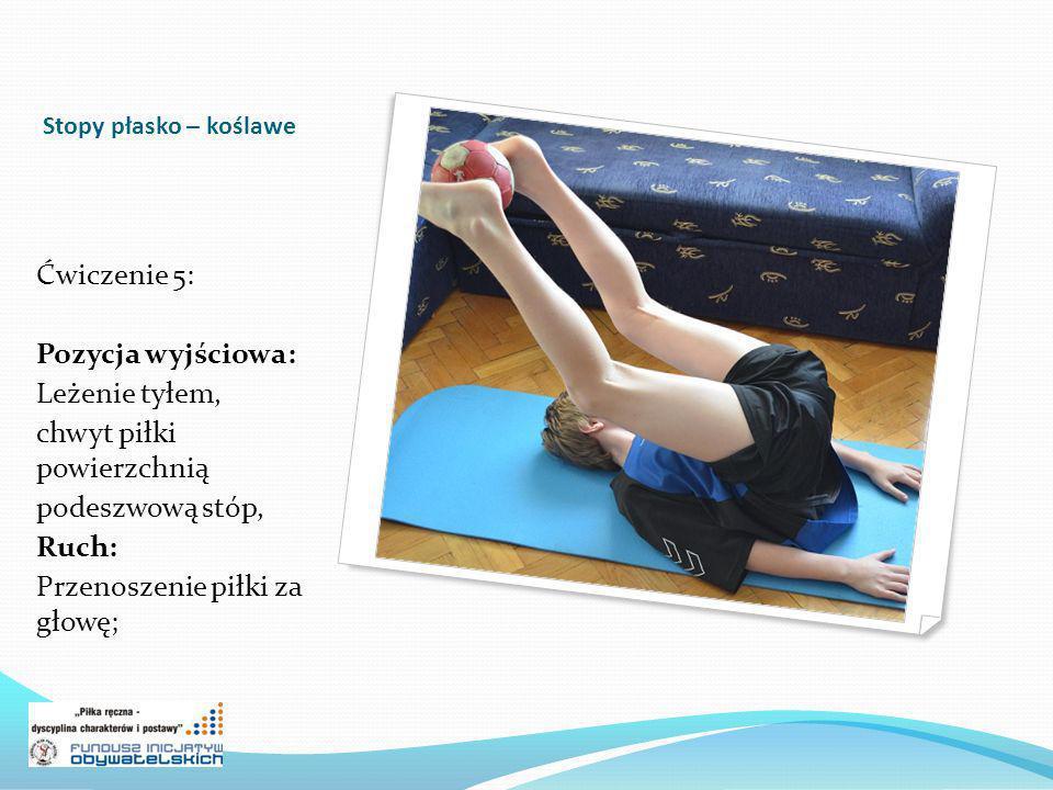 Stopy płasko – koślawe Ćwiczenie 6: Pozycja wyjściowa: Siad o nogach ugiętych, kolana odwiedzione, podeszwy stóp stykają się ze sobą, łokcie oparte na wewnętrznej części kolan, Ruch: Odwodzenie kolan łokciami z opadem tułowia w przód;
