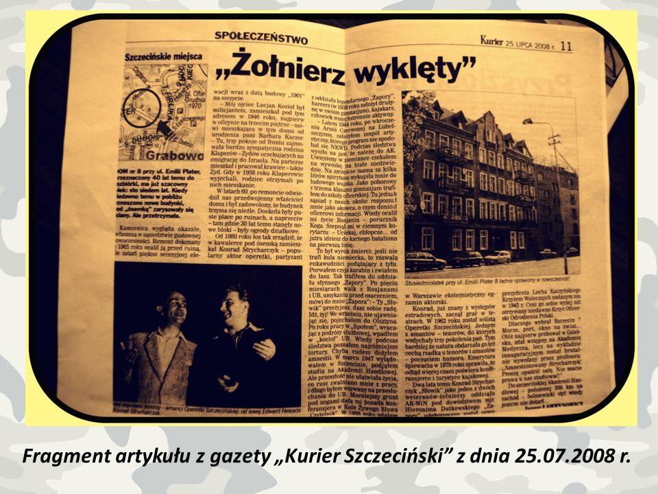 Fragment artykułu z gazety Kurier Szczeciński z dnia 25.07.2008 r.