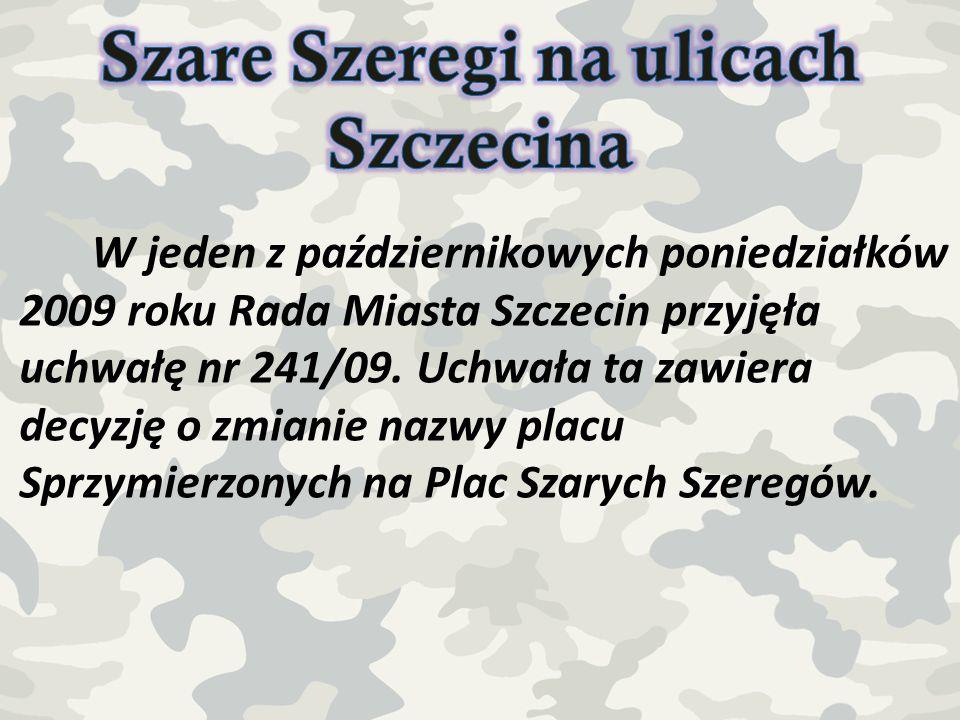 W jeden z październikowych poniedziałków 2009 roku Rada Miasta Szczecin przyjęła uchwałę nr 241/09. Uchwała ta zawiera decyzję o zmianie nazwy placu S