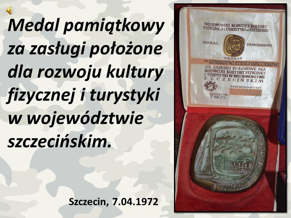 Medal pamiątkowy za zasługi położone dla rozwoju kultury fizycznej i turystyki w województwie szczecińskim. Szczecin, 7.04.1972