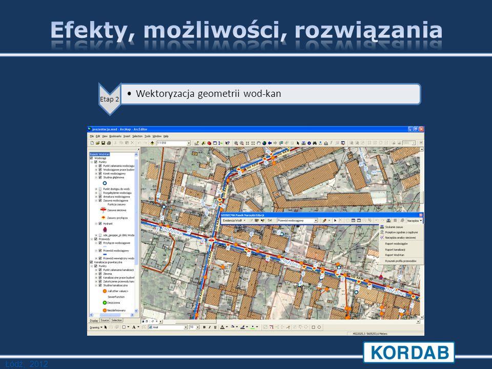 Łódź, 2012 Etap 2 Wektoryzacja geometrii wod-kan