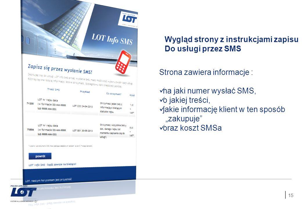 15 Wygląd strony z instrukcjami zapisu Do usługi przez SMS Strona zawiera informacje : na jaki numer wysłać SMS, o jakiej treści, jakie informację kli