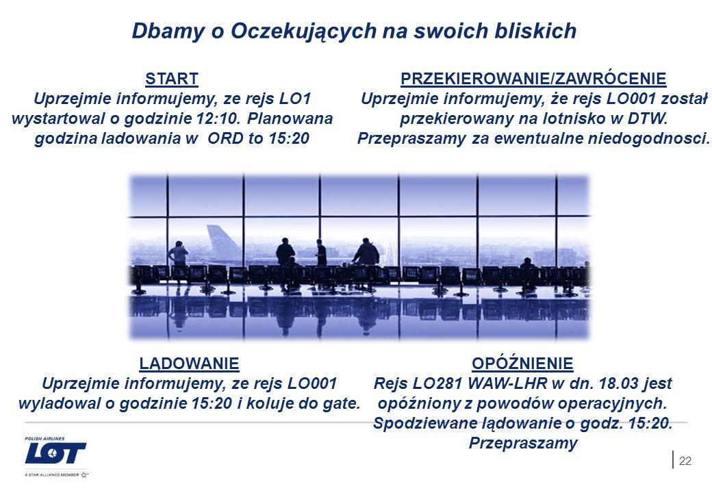22 OPÓŹNIENIE Rejs LO281 WAW-LHR w dn. 18.03 jest opóźniony z powodów operacyjnych. Spodziewane lądowanie o godz. 15:20. Przepraszamy START Uprzejmie