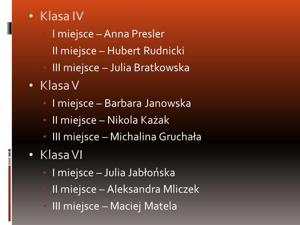 Klasa IV I miejsce – Anna Presler II miejsce – Hubert Rudnicki III miejsce – Julia Bratkowska Klasa V I miejsce – Barbara Janowska II miejsce – Nikola