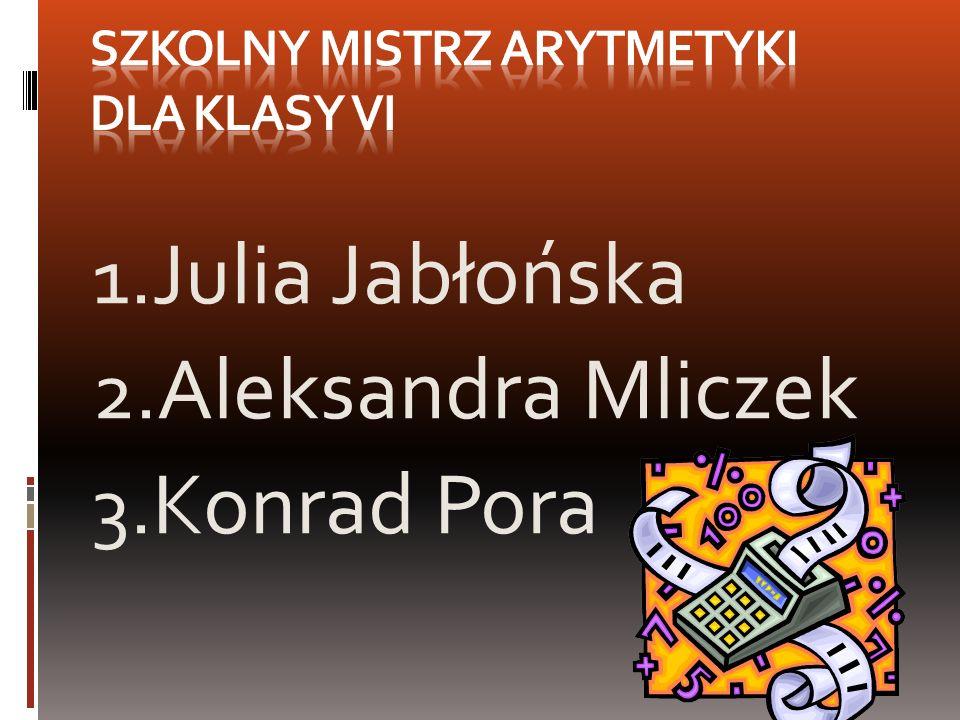 1. Julia Jabłońska 2. Aleksandra Mliczek 3. Konrad Pora
