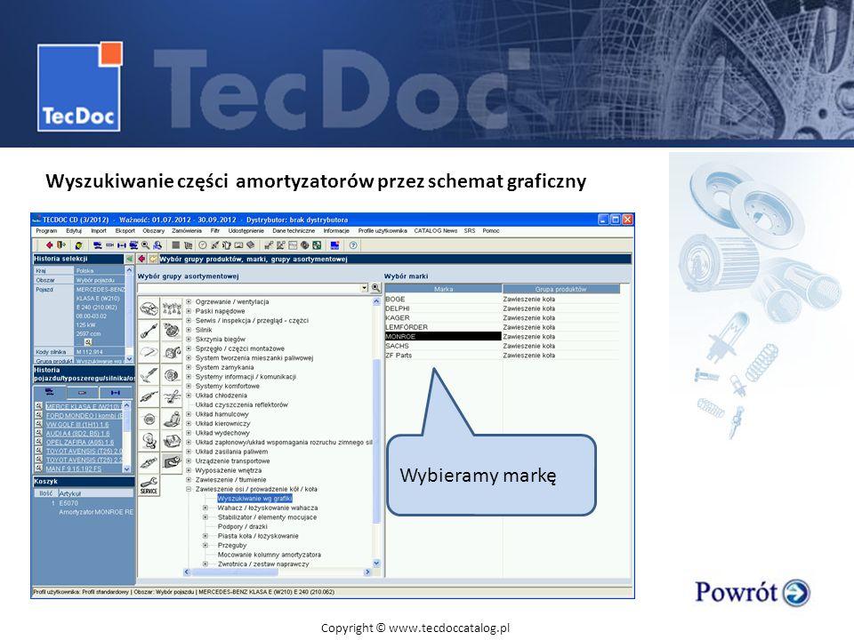 Wyszukiwanie części amortyzatorów przez schemat graficzny Wybieramy markę Copyright © www.tecdoccatalog.pl