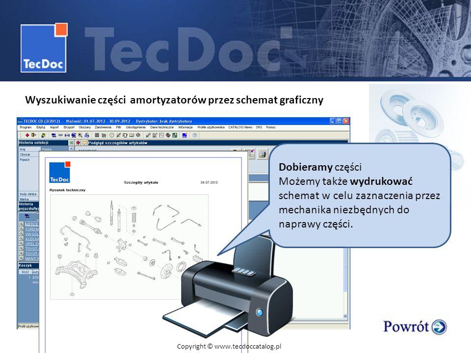 Wyszukiwanie części amortyzatorów przez schemat graficzny Dobieramy części Możemy także wydrukować schemat w celu zaznaczenia przez mechanika niezbędn