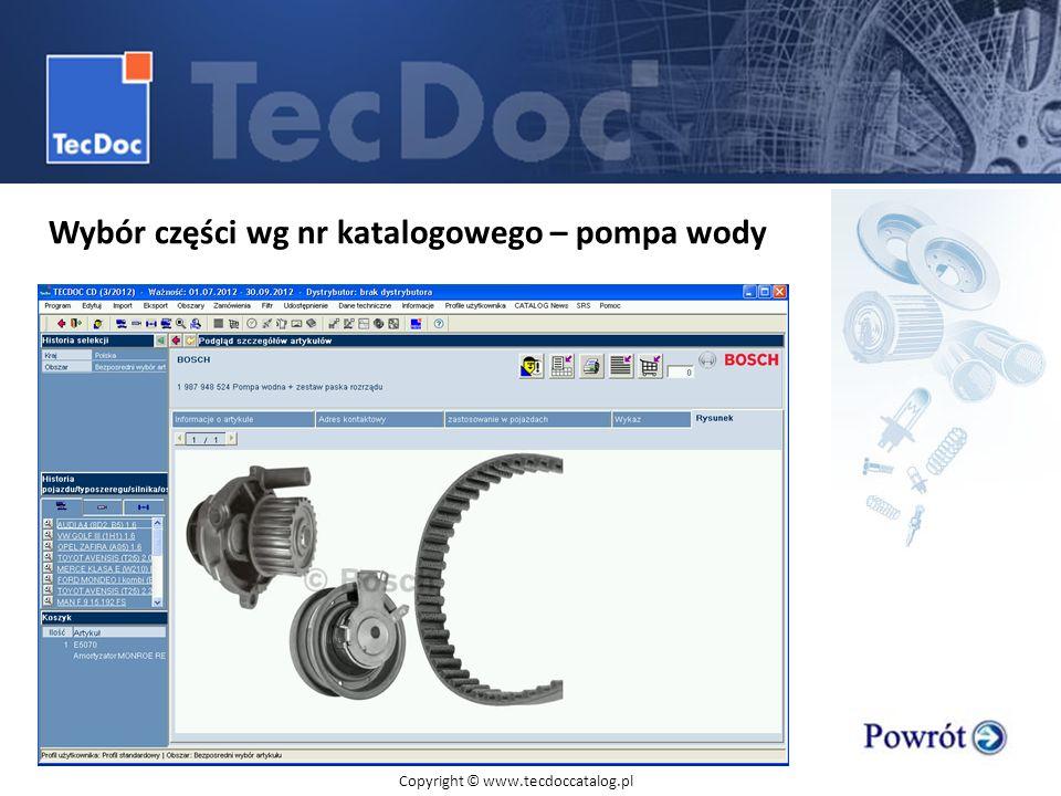 Wybór części wg nr katalogowego – pompa wody Copyright © www.tecdoccatalog.pl