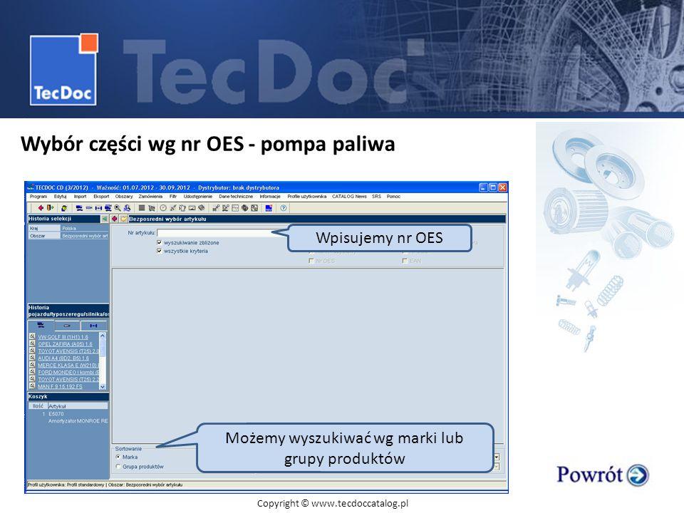 Wybór części wg nr OES - pompa paliwa Bezpośredni wybór artykułu Wpisujemy nr OES Możemy wyszukiwać wg marki lub grupy produktów Copyright © www.tecdo