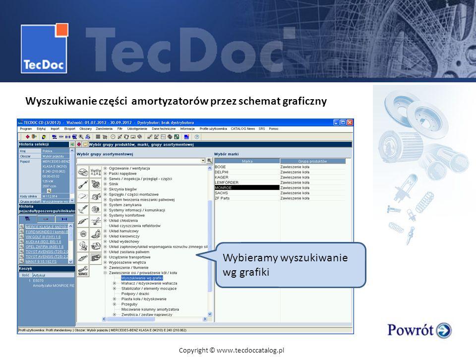 Wyszukiwanie części amortyzatorów przez schemat graficzny Wybieramy wyszukiwanie wg grafiki Copyright © www.tecdoccatalog.pl