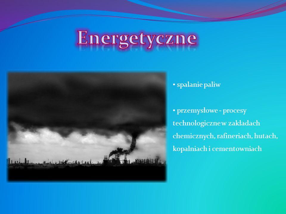 spalanie paliw przemysłowe - procesy technologiczne w zakładach chemicznych, rafineriach, hutach, kopalniach i cementowniach