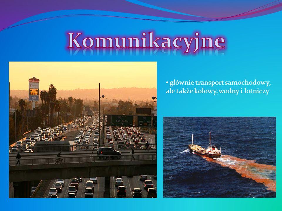 głównie transport samochodowy, ale także kołowy, wodny i lotniczy