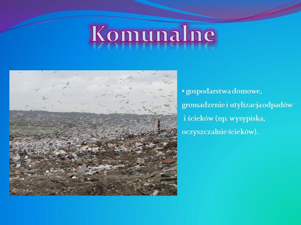 gospodarstwa domowe, gromadzenie i utylizacja odpadów i ścieków (np. wysypiska, oczyszczalnie ścieków).