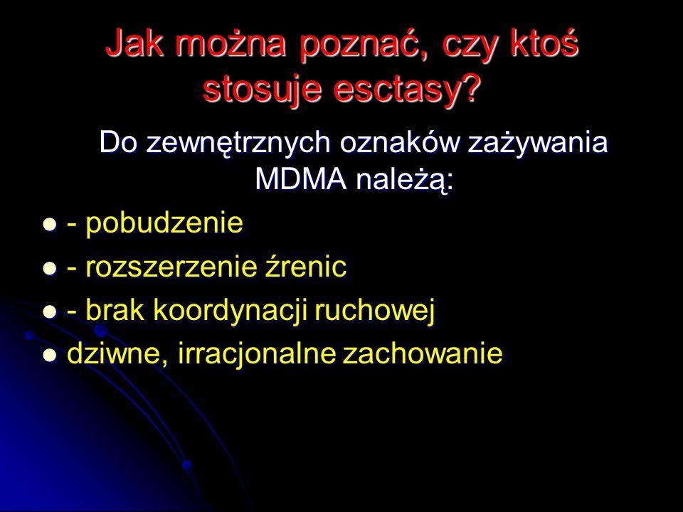 Jak można poznać, czy ktoś stosuje esctasy? Do zewnętrznych oznaków zażywania MDMA należą: Do zewnętrznych oznaków zażywania MDMA należą: - pobudzenie