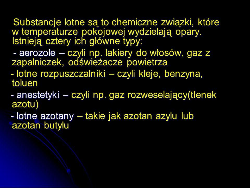 Substancje lotne są to chemiczne związki, które w temperaturze pokojowej wydzielają opary. Istnieją cztery ich główne typy: Substancje lotne są to che