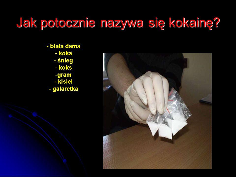 Jak potocznie nazywa się kokainę? - biała dama - koka - śnieg - koks -gram - kisiel - galaretka