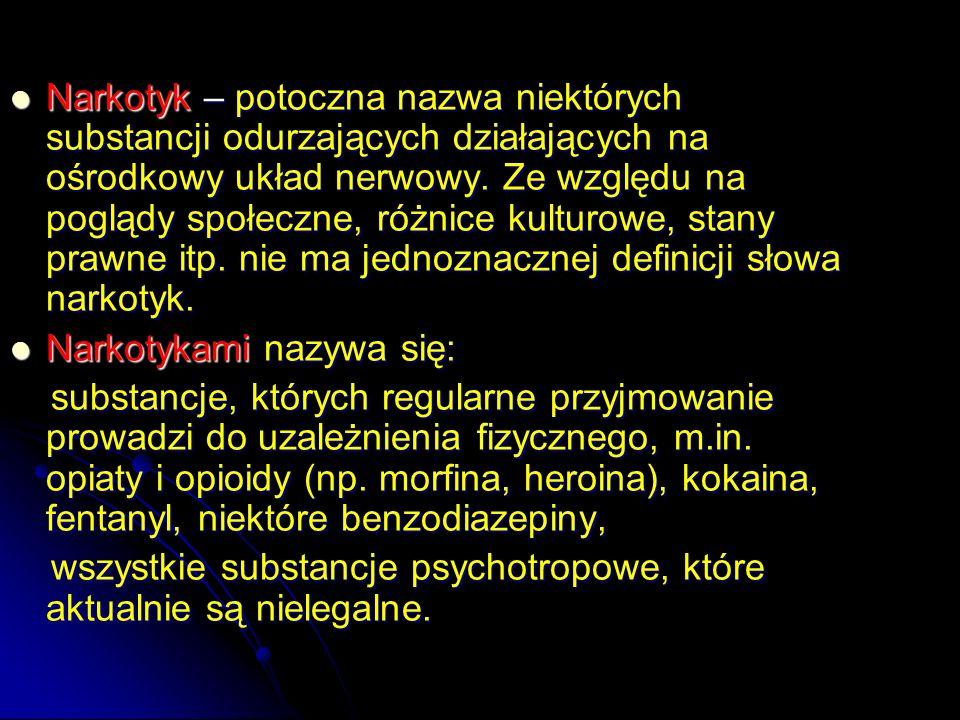 Narkotyk z punktu widzenia obowiązującego prawa W polskim prawodawstwie środkiem odurzającym nazywamy substancję pochodzenia naturalnego lub syntetycznego działającą na ośrodkowy układ nerwowy, określona w wykazie stanowiącym załącznik nr 1 do ustawy z dnia 29 lipca 2005 r.