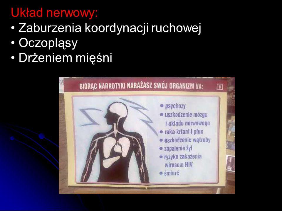 Układ nerwowy: Zaburzenia koordynacji ruchowej Oczopląsy Drżeniem mięśni