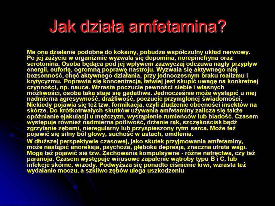 Jak działa amfetamina? Ma ona działanie podobne do kokainy, pobudza współczulny układ nerwowy. Po jej zażyciu w organizmie wyzwala się dopomina, norep
