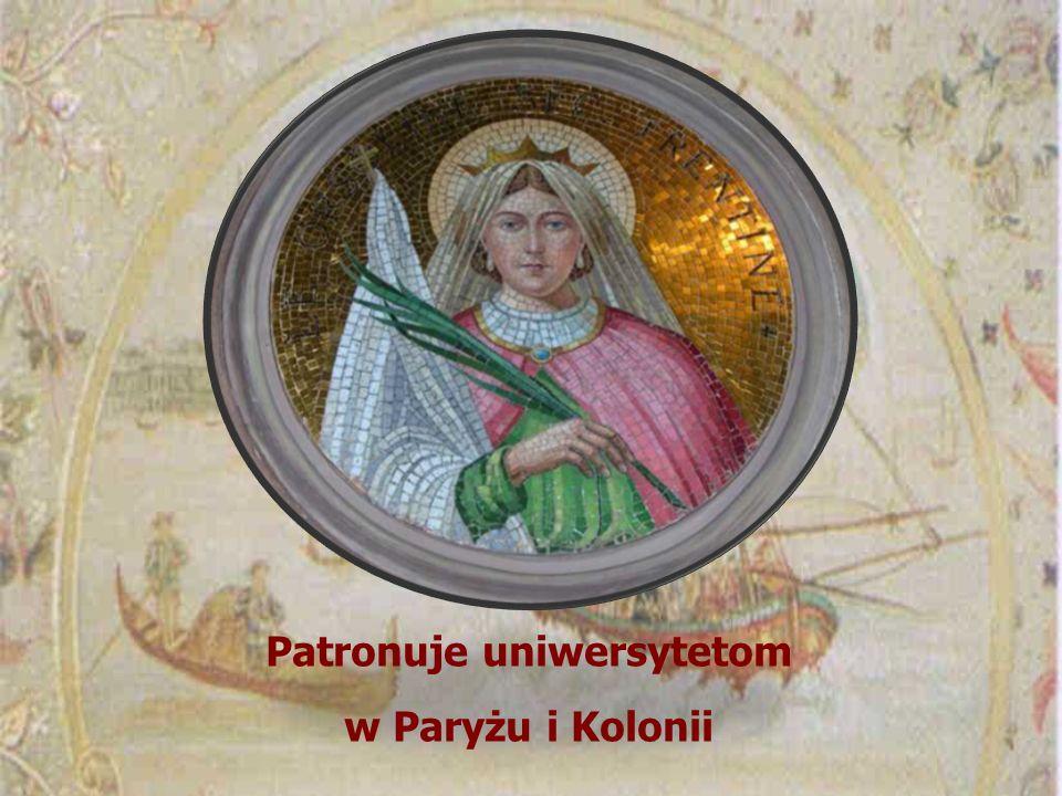 Patronuje uniwersytetom w Paryżu i Kolonii