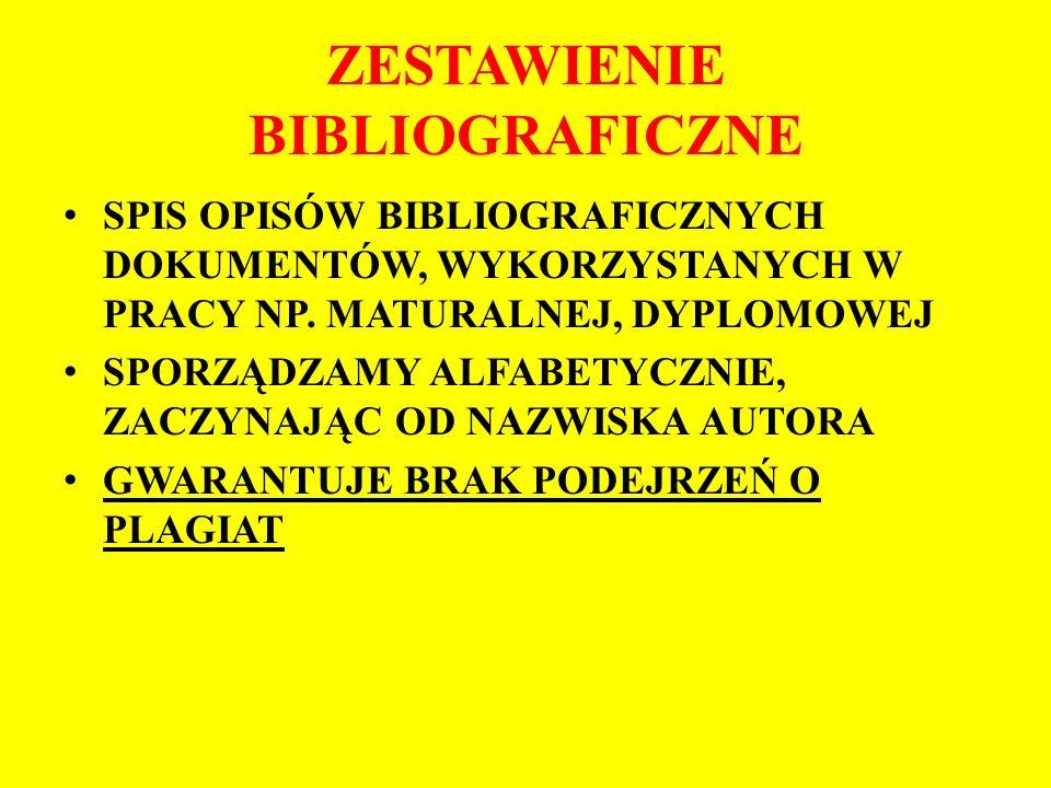 ZESTAWIENIE BIBLIOGRAFICZNE SPIS OPISÓW BIBLIOGRAFICZNYCH DOKUMENTÓW, WYKORZYSTANYCH W PRACY NP.