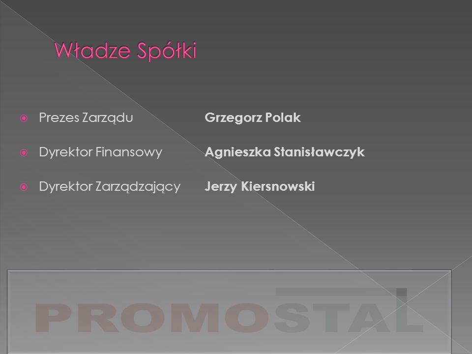 Prezes Zarządu Grzegorz Polak Dyrektor Finansowy Agnieszka Stanisławczyk Dyrektor Zarządzający Jerzy Kiersnowski