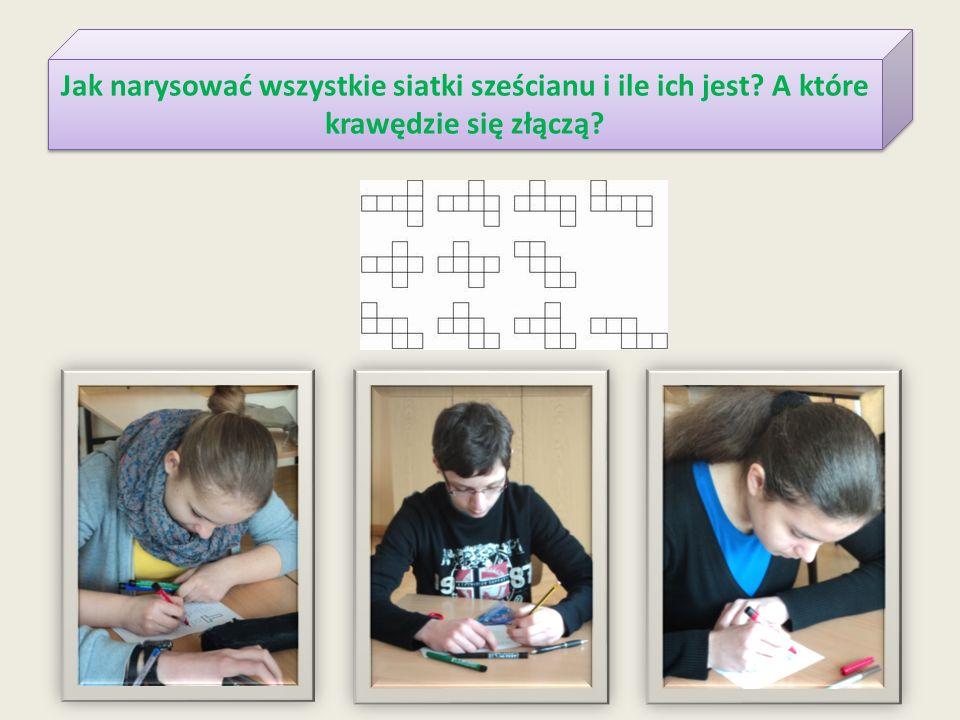 Jak narysować wszystkie siatki sześcianu i ile ich jest? A które krawędzie się złączą?