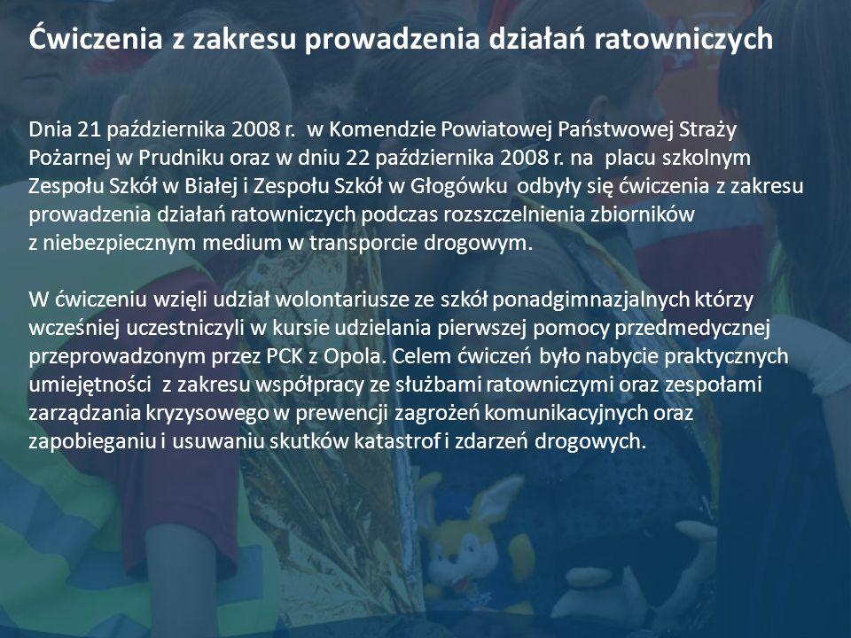Ćwiczenia z zakresu prowadzenia działań ratowniczych Dnia 21 października 2008 r. w Komendzie Powiatowej Państwowej Straży Pożarnej w Prudniku oraz w