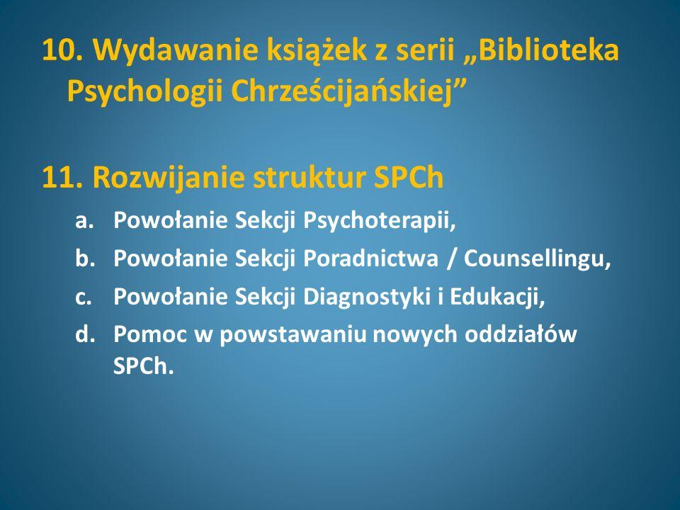 10. Wydawanie książek z serii Biblioteka Psychologii Chrześcijańskiej 11.