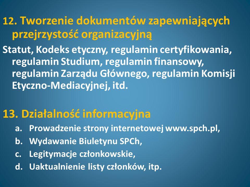 12. Tworzenie dokumentów zapewniających przejrzystość organizacyjną Statut, Kodeks etyczny, regulamin certyfikowania, regulamin Studium, regulamin fin