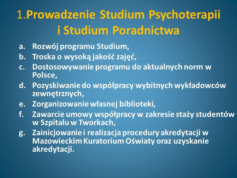 1.Prowadzenie Studium Psychoterapii i Studium Poradnictwa a.Rozwój programu Studium, b.Troska o wysoką jakość zajęć, c.Dostosowywanie programu do aktualnych norm w Polsce, d.Pozyskiwanie do współpracy wybitnych wykładowców zewnętrznych, e.Zorganizowanie własnej biblioteki, f.Zawarcie umowy współpracy w zakresie staży studentów w Szpitalu w Tworkach, g.Zainicjowanie i realizacja procedury akredytacji w Mazowieckim Kuratorium Oświaty oraz uzyskanie akredytacji.