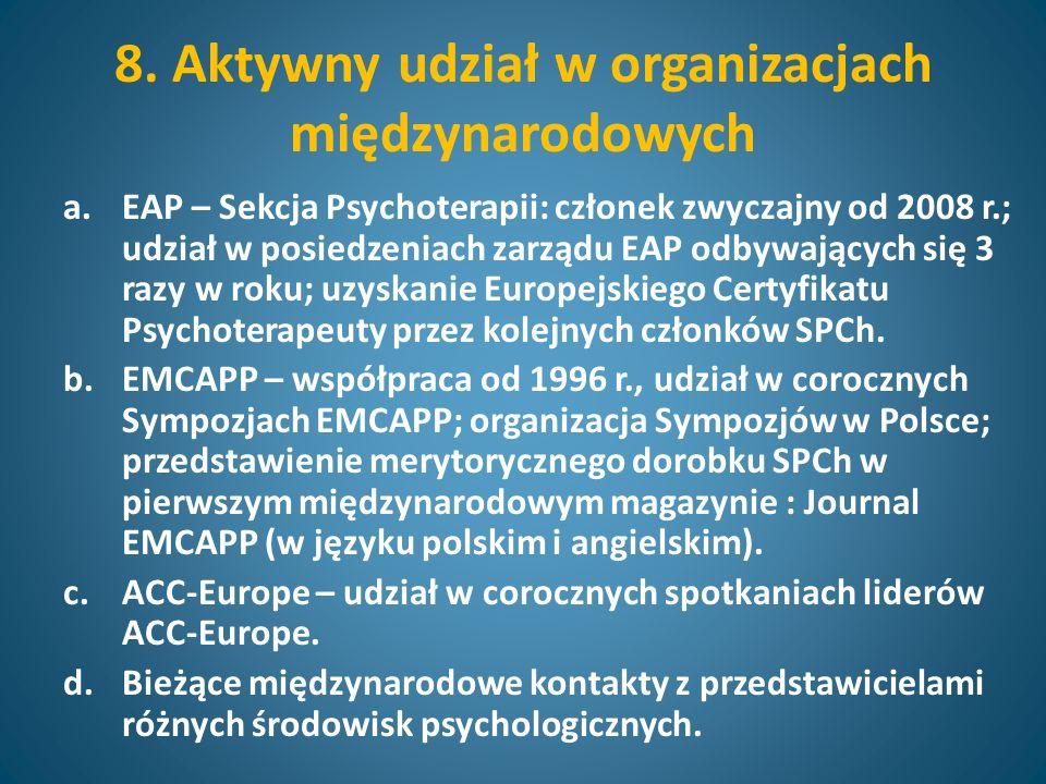 8. Aktywny udział w organizacjach międzynarodowych a.EAP – Sekcja Psychoterapii: członek zwyczajny od 2008 r.; udział w posiedzeniach zarządu EAP odby