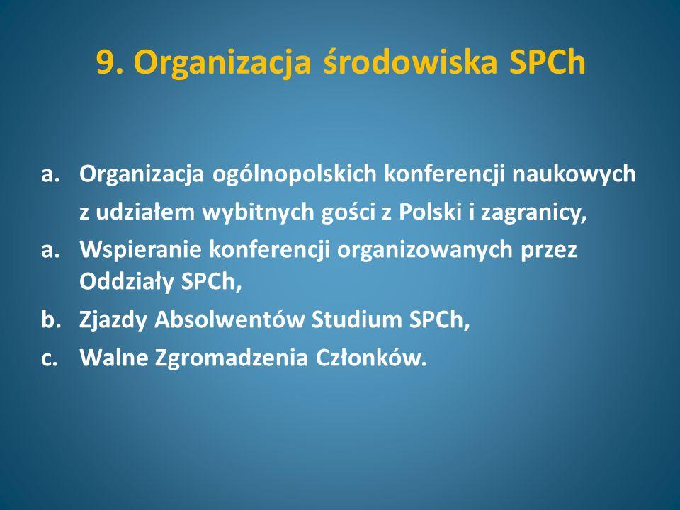 9. Organizacja środowiska SPCh a.Organizacja ogólnopolskich konferencji naukowych z udziałem wybitnych gości z Polski i zagranicy, a.Wspieranie konfer