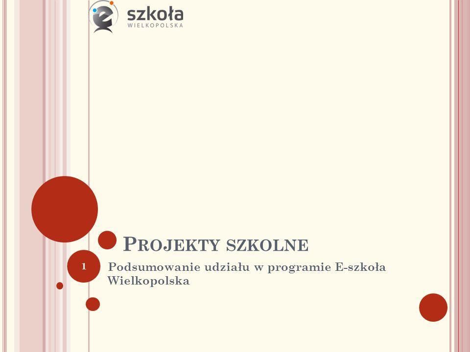 P ROJEKTY SZKOLNE Podsumowanie udziału w programie E-szkoła Wielkopolska 1