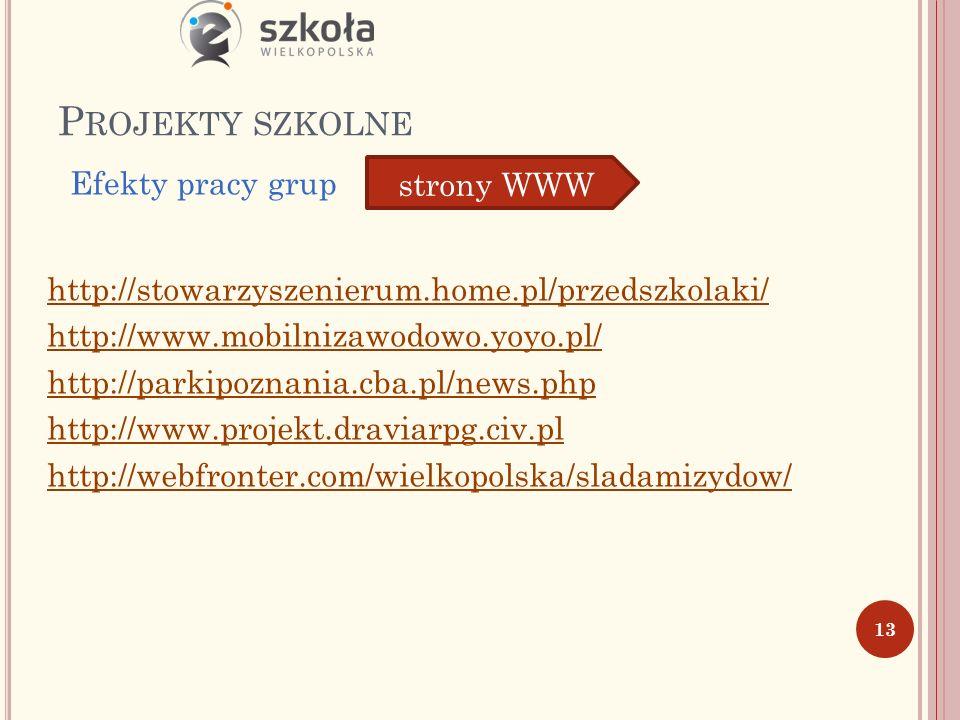 P ROJEKTY SZKOLNE http://stowarzyszenierum.home.pl/przedszkolaki/ http://www.mobilnizawodowo.yoyo.pl/ http://parkipoznania.cba.pl/news.php http://www.projekt.draviarpg.civ.pl http://webfronter.com/wielkopolska/sladamizydow/ 13 Efekty pracy grup strony WWW