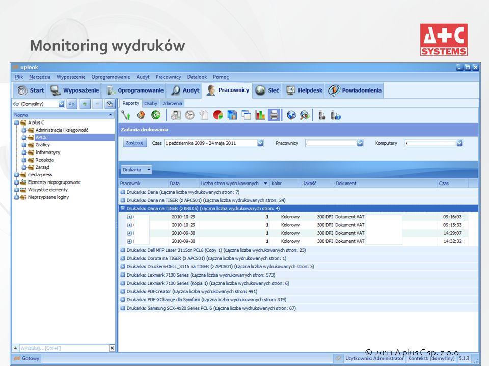 Monitoring wydruków © 2011 A plus C sp. z o.o.