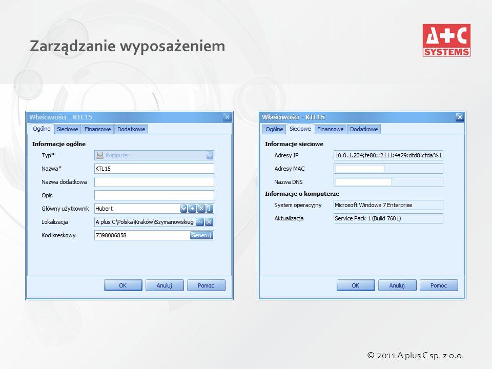 Zarządzanie wyposażeniem © 2011 A plus C sp. z o.o.
