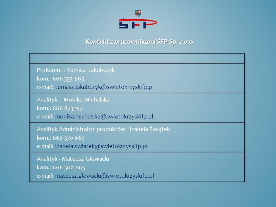 Kontakt z pracownikami ŚFP Sp. z o.o.