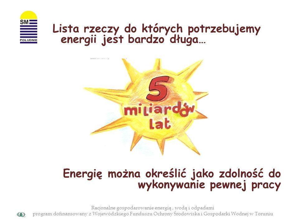 Racjonalne gospodarowanie energią, wodą i odpadami program dofinansowany z Wojewódzkiego Funduszu Ochrony Środowiska i Gospodarki Wodnej w Toruniu