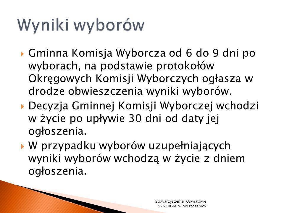 Gminna Komisja Wyborcza od 6 do 9 dni po wyborach, na podstawie protokołów Okręgowych Komisji Wyborczych ogłasza w drodze obwieszczenia wyniki wyborów.